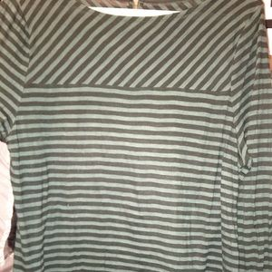Loft - Hunter Green/ Black Striped T-shirt